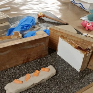 Getting a frame set up with wood blocks and vice grips